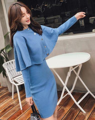 DL1842 : Set đầm len dệt kim ôm + áo choàng ngoài cài nút