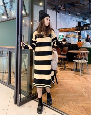 DL1843 : Đầm len dày dáng suông sọc kẻ cổ bẻ Hàn Quốc