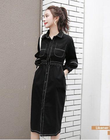 DL1846 : Đầm kaki chun eo cổ bẻ cài nút dạo phố