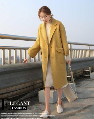 K18111 : Áo khoác dạ lông ép cổ vest Hàn Quốc 2 túi