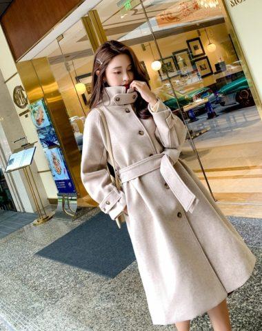 K18110 : Áo khoác dạ xòe Hàn Quốc cổ cao thắt đai eo 2 túi