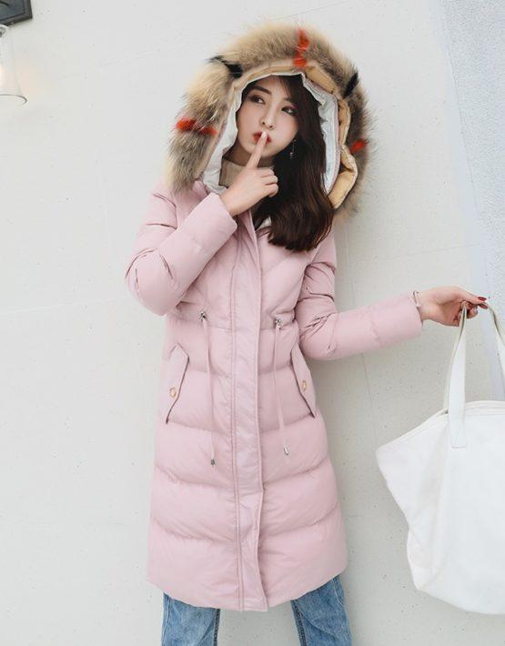 K18108 : Áo khoác phao thân dài 4 lớp cao cấp mũ lông cáo rút dây eo