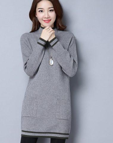 AL1857 : Áo len dệt kim cổ cao thân dài 2 túi trước