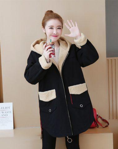 K18116 : Áo khoác kaki lót lông cừu có mũ sau ấm áp