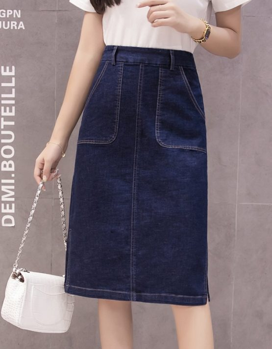 CV1902 : Chân váy Jean 2 túi xẻ 2 bên