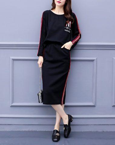 DL1847 : Set bộ nỉ thun áo thêu chữ cổ tròn + chân váy sọc