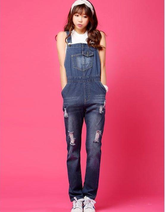 Q1903 : Quần Jean yếm cao dài 1 túi nhỏ trước ngực