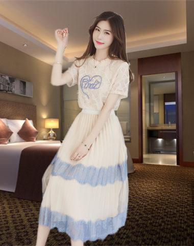 D1914 : Set bộ áo ren + Chân váy xếp ly dài xòe