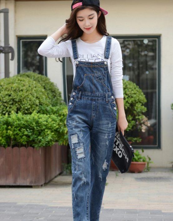 Q1901 : Quần yếm Jean dài 1 túi nhỏ phía trước