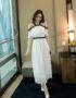 D1926 : Đầm maxi trắng ngực bèo hở vai viền ren