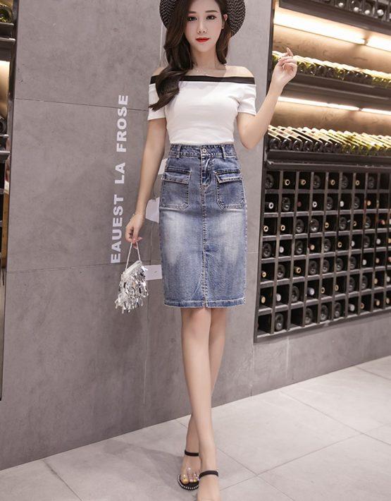 CV1916 : Chân váy denim ngắn xẻ trước 2 túi