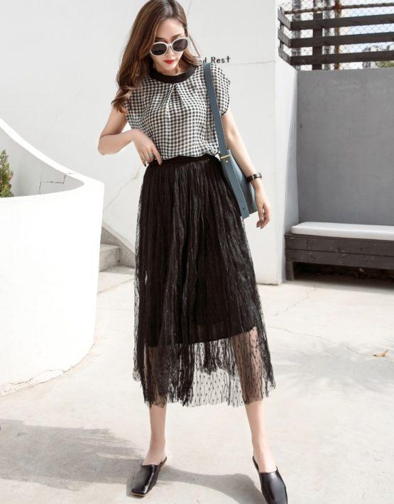 CV1920 : Chân váy ren lưới xòe chấm bi