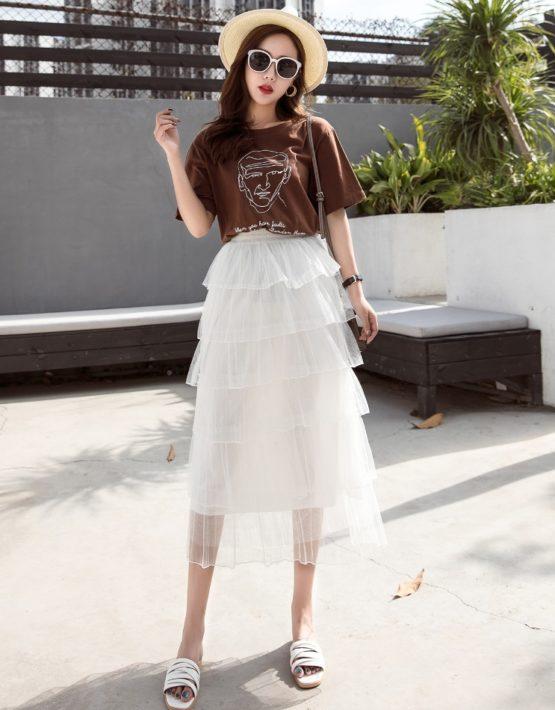 CV1919 : Chân váy ren tầng xòe dài
