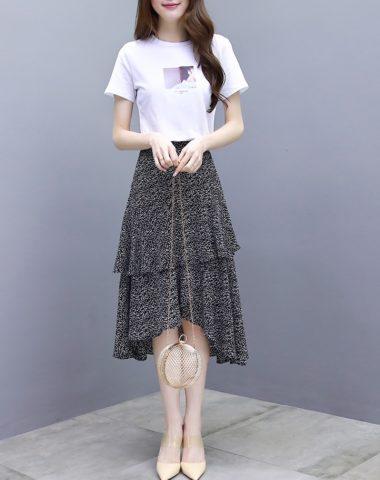 D1915 : Set bộ áo thun + Chân váy đuôi cá xòe tầng