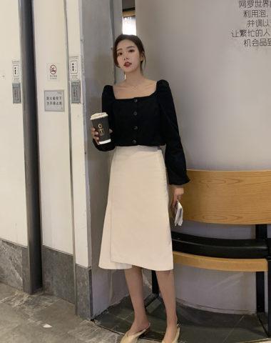 D1908 : Set bộ áo sơ mi cổ vuông + Chân váy kaki