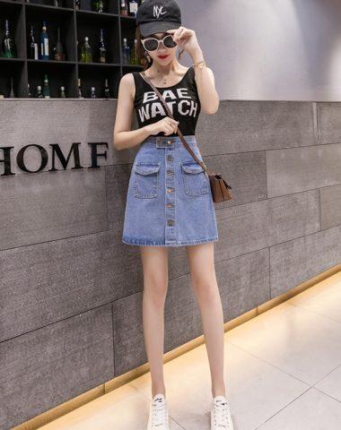 CV1923 : Chân váy Jean chữ A ngắn 2 túi trước cài nút
