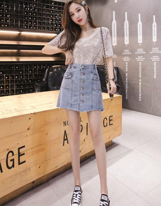 CV1924 : Chân váy Jean ngắn cài nút 2 túi trước eo cao
