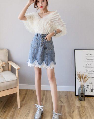 CV1925 : Chân váy Jean ngắn phối ren hoa 2 túi