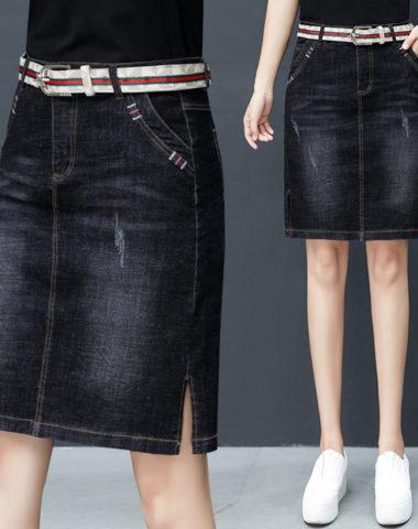 CV1927 : Chân váy denim co giãn 2 túi chéo