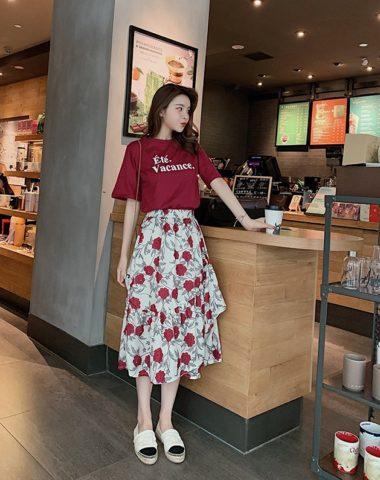 D1942 : Set bộ chân váy voan hoa bèo + Áo thun in chữ