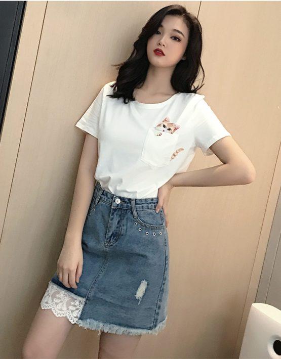 D1948 : Áo thun in con mèo + chân váy Jean ngắn phối ren