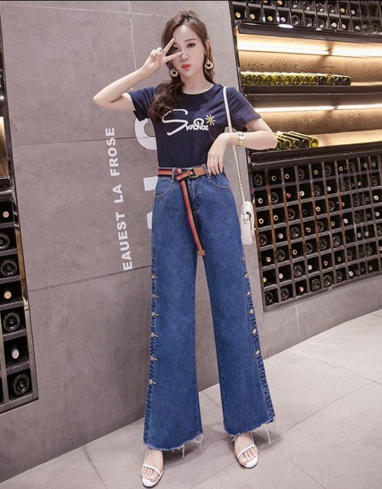 D1989 : Set bộ áo thun in chữ + quần jean dài ống rộng cài nút