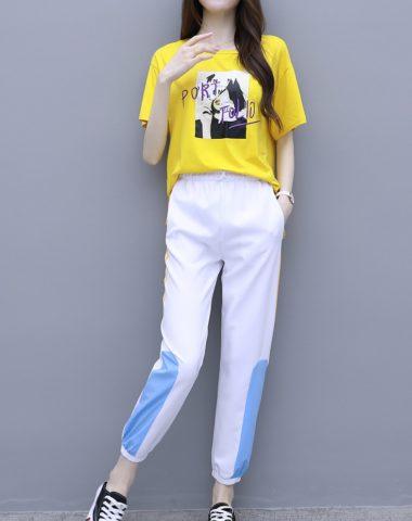 D1982 : Set bộ áo thun thêu chữ + quần lửng thể thao
