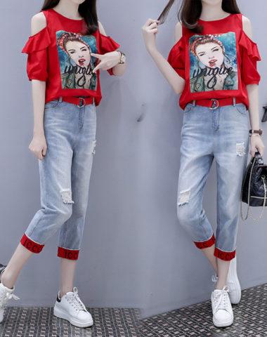 D1991 : Set bộ áo thun cô gái hở vai HQ + quần Jean lửng