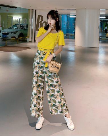 D1994 : Set bộ áo thun hở vai + quần voan hoa dài ống rộng