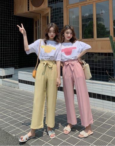 D1996 : Set bộ áo thun in hình áo + quần ống rộng cạp chun