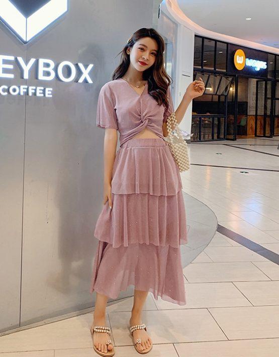 D1985 : Set bộ áo thun kim tuyến crop top + chân váy xòe tầng