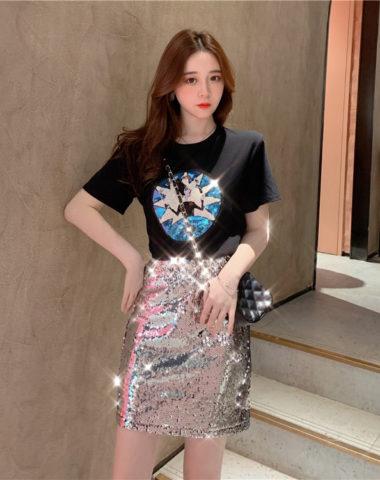 D1997 : Set bộ áo thun + Chân váy chữ A đính sequin