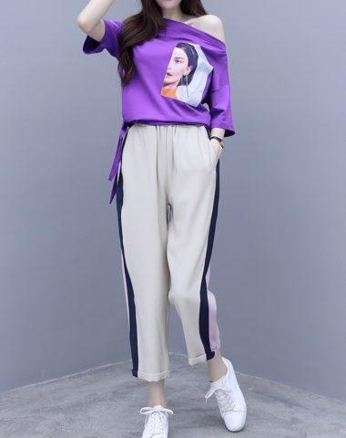 SB202 : Set bộ áo thun cô gái hở vai + quần lửng ống suông sọc