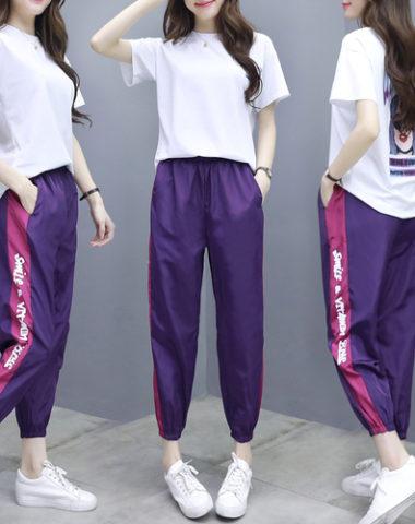 D19114 : Set bộ áo thun in hình cô gái sau lưng + quần gió thể thao