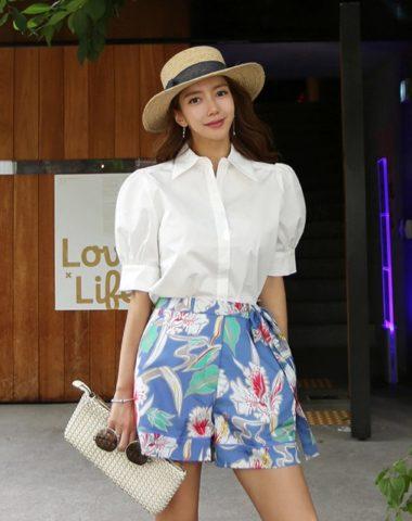 D19109 : Set bộ áo sơ mi tay phồng + quần short hoa Hàn Quốc