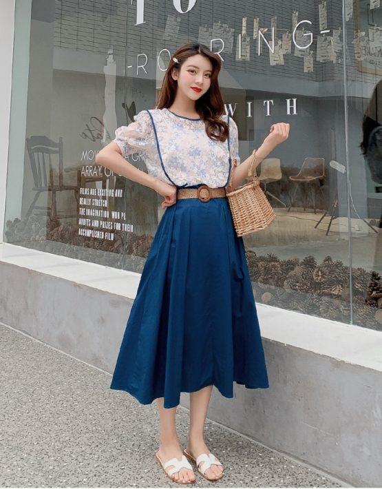 D19102 : Set bộ áo ren +chân váy xòe eo cao HQ