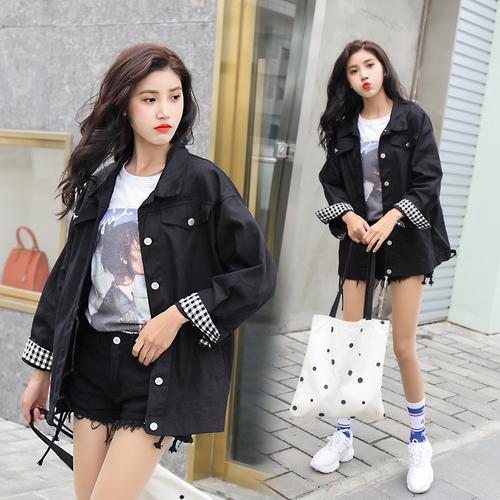 K1916 : Áo khoác Jean màu cổ bẻ đơn giản tay áo lật sọc kẻ