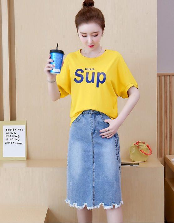 D19106 : Set bộ áo thun sup + chân váy denim chữ A