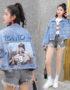 K1917 : Áo khoác Jean thân ngắn in hình cô gái sau lưng