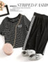 D19112 : Set bộ áo thun sọc kẻ + chân váy thun sọc thể thao