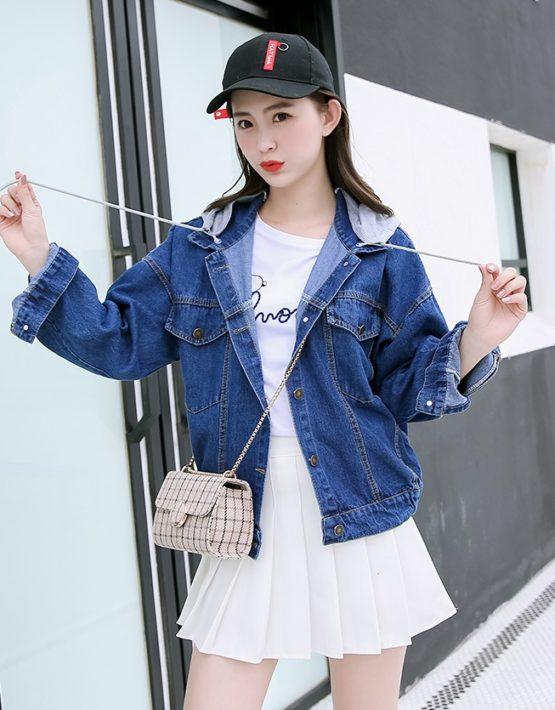 K1902 : Áo khoác Jean phối mũ nỉ bo chun vạt áo