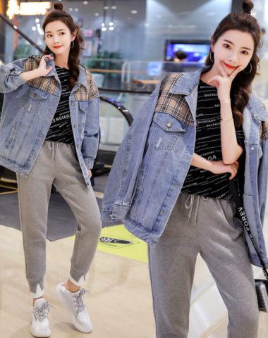 K1903 : Áo khóa Jean dáng dài phối sọc kẻ trước ngực mới 2019