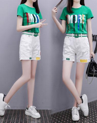 D19107 : Set bộ áo thun in chữ sequin + quần short rách
