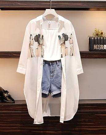 D19108 : Set bộ áo thun 2 dây + quần short jean + áo sơ mi dài