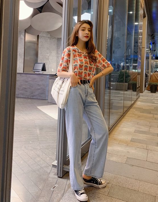 D19120 : Set bộ áo thun hoa + quần Jean cạp cao ống đứng
