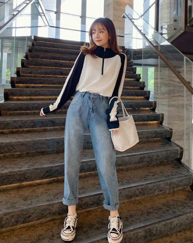 D19122 : Set bộ áo len dệt kim phối 2 màu + quần jean ống đứng