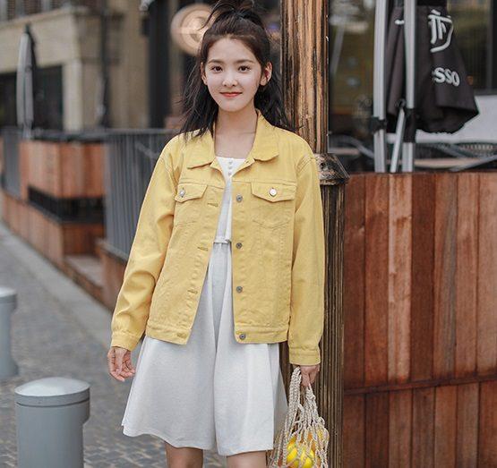 K1921 : Áo khoác Jean màu sắc trẻ trung mùa thu 2019-2020