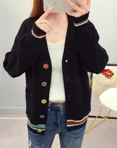K1923 : Áo khoác len cổ chữ V nút màu sắc