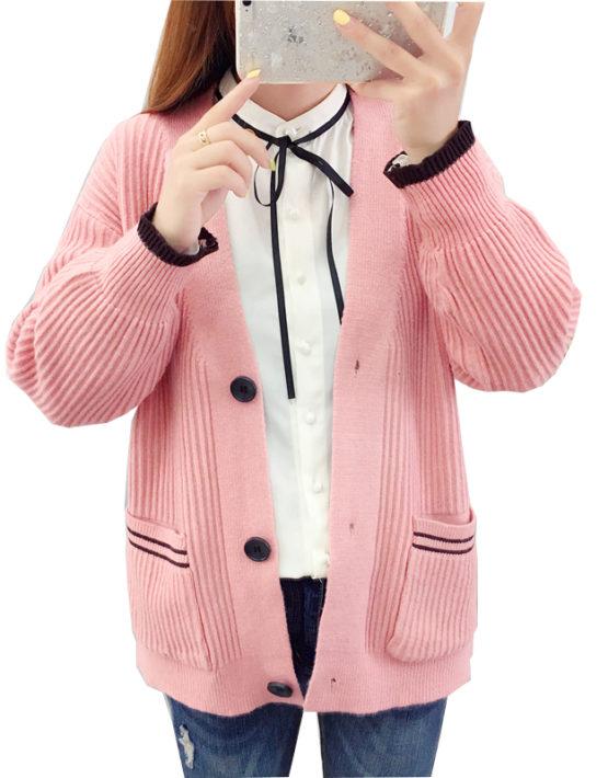 K1925 : Áo khoác len cardigan cổ chữ V 2 túi