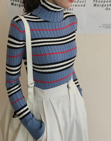 AL902 : Áo len dệt kim sọc kẻ cổ lọ gập mẫu mùa thu mới